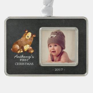 Foto-Verzierung des Bärn-Jungen-Babys 1. Rahmen-Ornament Silber