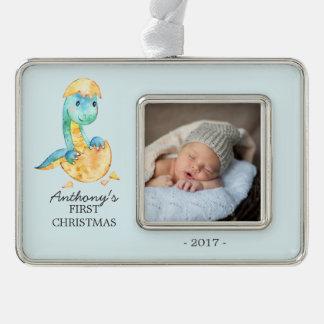 Foto-Verzierung des Dinosaurier-Babys 1. Rahmen-Ornament Silber