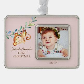 Foto-Verzierung des Dschungel-Affe-Babys 1. Rahmen-Ornament Silber