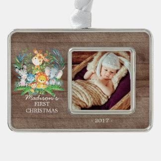 Foto-Verzierung des Dschungel-Mädchen-Babys 1. Rahmen-Ornament Silber