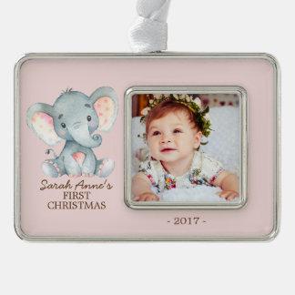Foto-Verzierung des Elefant-Babys 1. Weihnachts Rahmen-Ornament Silber