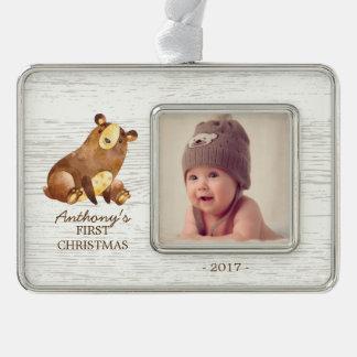 Foto-Verzierung des Waldbärn-Babys 1. Weihnachts Rahmen-Ornament Silber