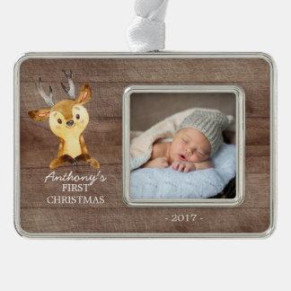 Foto-Verzierung des Waldrotwild-Babys 1. Rahmen-Ornament Silber
