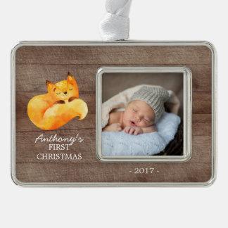 Foto-Verzierung Waldfox-Babys 1. Weihnachts Rahmen-Ornament Silber