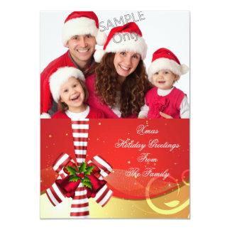 Foto-Weihnachtsfeiertags-Weihnachtsgruß-Goldrot 11,4 X 15,9 Cm Einladungskarte