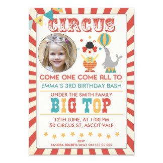 Foto-Zirkus-Geburtstags-Party Einladung