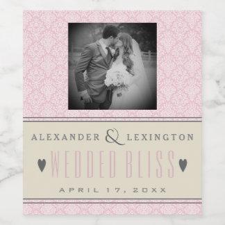 Fotografie-eleganter Damast-rosa und graue Weinetikett
