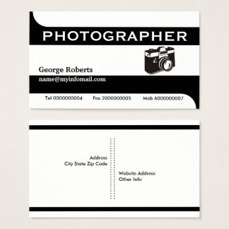 Fotografkameraschwarzes, weißes modernes visitenkarte