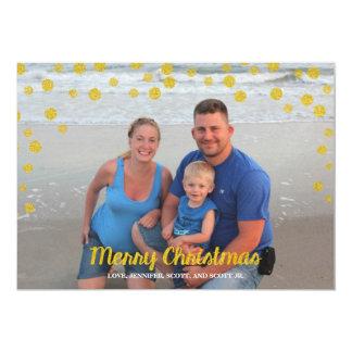 Fotokarte der Goldconfetti-frohen Weihnachten 12,7 X 17,8 Cm Einladungskarte