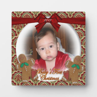 Fotoplakette des Babys erste Weihnachtsweihnachts Fotoplatte