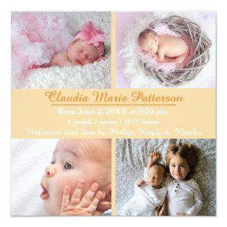 Fotos der Orangen-4 - Geburts-Mitteilung Quadratische 13,3 Cm Einladungskarte