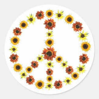 Fotos der Sonnenblume-Friedenszeichen-Aufkleber Runder Aufkleber