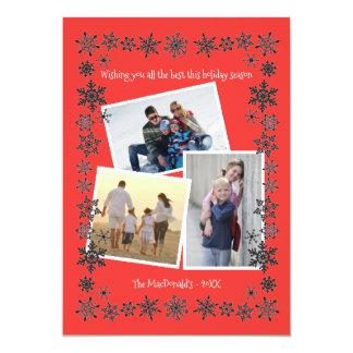 Fotos des Schneeflocke-Rahmen-Rot-3 - 12,7 X 17,8 Cm Einladungskarte