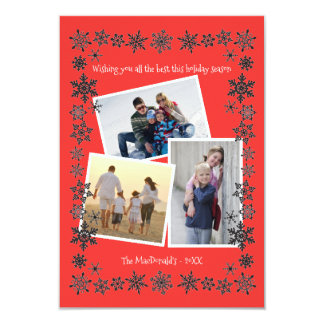 Fotos des Schneeflocke-Rahmen-Rot-3 - Karte des 8,9 X 12,7 Cm Einladungskarte
