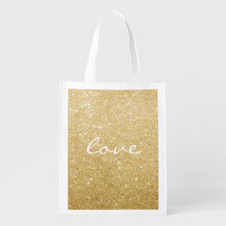 Fourre-tout réutilisable - amour scintillé sac réutilisable d'épcierie
