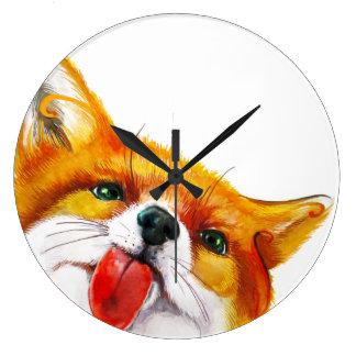 Fox-Aquarell Große Wanduhr