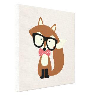 Fox de Brown de hippie de cravate d'arc Impression Sur Toile