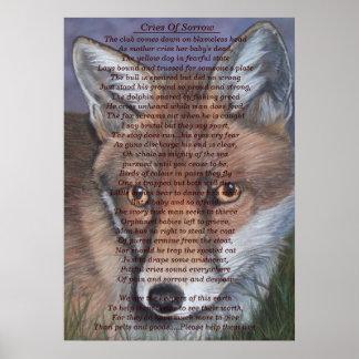 fox die wild lebenden Tiere, die traurige Poster