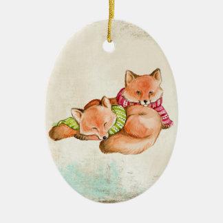 Fox Snuggles Verzierung Keramik Ornament