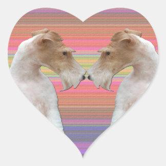 Fox Terrier de fil dans l'amour Sticker Cœur