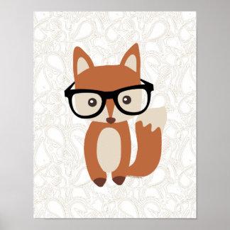 Fox w Glasses de bébé de hippie Poster
