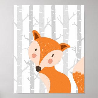 Fox-WaldtierKinderzimmer-Wand-Kunst-Druck Poster