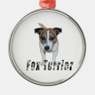 Foxterrier mit Logo, Metallverzierung Rundes Silberfarbenes Ornament