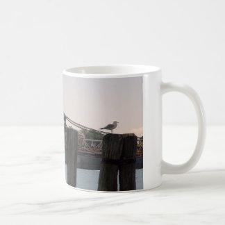 Frachter-Möve und Anhäufungen Kaffeetasse