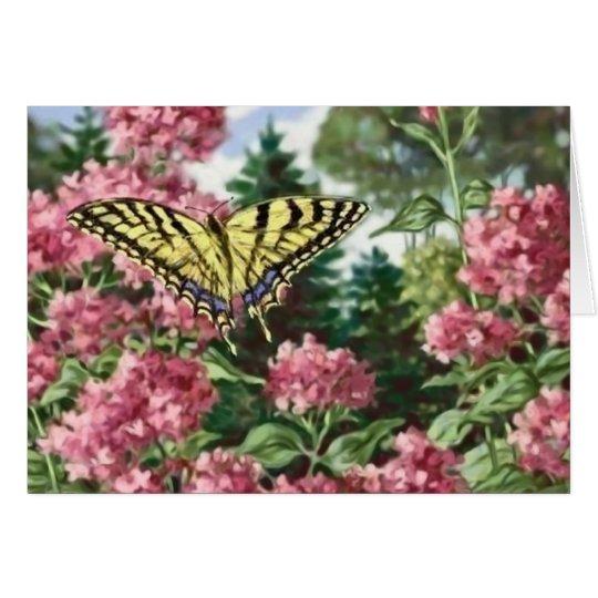 Frack-Schmetterlings-Rosa-Blumen-Garten-Malerei Karte