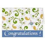 Fractale des félicitations de bleu de fleurs carte de vœux