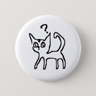 Fragen-Katze hat Frage Runder Button 5,7 Cm