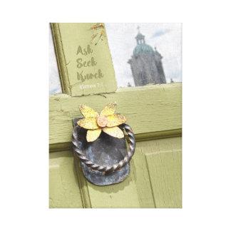 Fragen Sie Suchvorgang-Schlag Vintage Tür Leinwanddruck