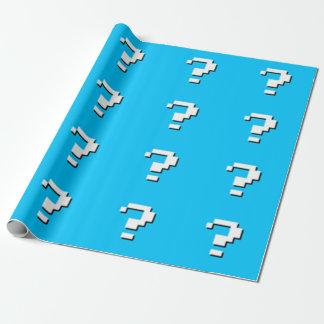 Fragezeichen-Pixel-Kunst-Packpapier - Himmel-Blau Geschenkpapier