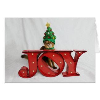 Fraglicher Freude-Weihnachtsbaum-Katzen-Hut Karte