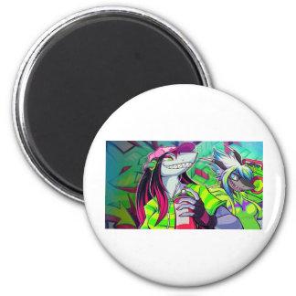 Frais, génial, à la mode, rétro, cool magnet rond 8 cm
