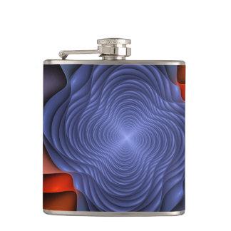 Fraktal-Blume auf einem dunklen Hintergrund Flachmann