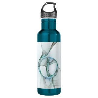 Fraktal-Kunst-blauer Türkis-graue abstrakte Edelstahlflasche