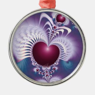 Fraktal-Liebe-Herz-erstklassige runde Verzierung Rundes Silberfarbenes Ornament
