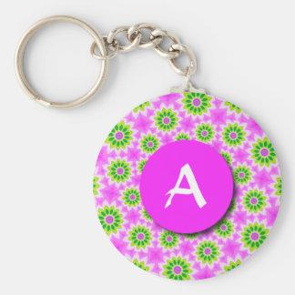 Fraktal-Patchwork-Gänseblümchen-Monogramm Keychain Schlüsselanhänger
