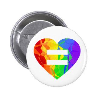 Fraktal-Regenbogen-Herz-Heirat-Gleichheits-Knopf Runder Button 5,1 Cm