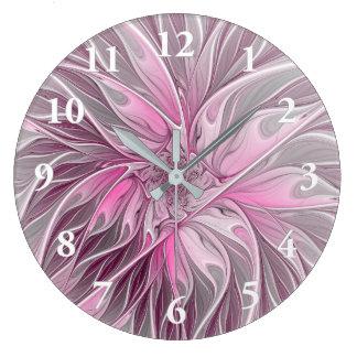 Fraktal-rosa Blumen-Traum, Blumenphantasie-Muster Große Wanduhr
