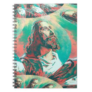 Fraktal-Tauben-Frieden Posterized Jesuss Christus Notizblock