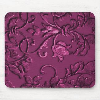 Framboise métallique de relief de damassé tapis de souris