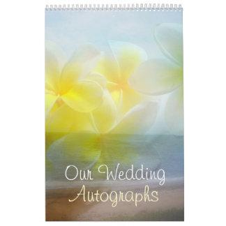 Frangipani-Hochzeits-Autogramms-Buch Abreißkalender