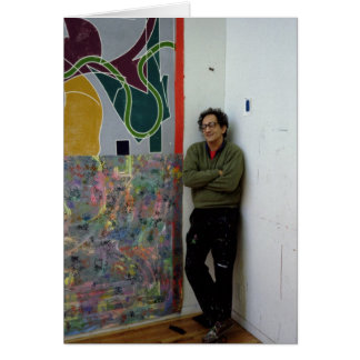 Frank Stella neben einem von seinem arbeitet Karte