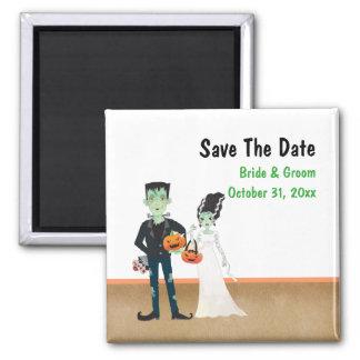 Frankenstein und Braut-Halloween-Hochzeits-Magnet Quadratischer Magnet