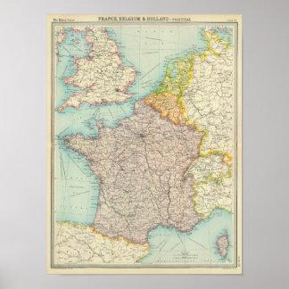 Frankreich, Belgien u. Holland politisch Poster