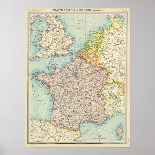 Frankreich, Belgien u. Holland politisch Plakatdrucke