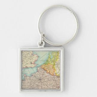 Frankreich, Belgien u. Holland politisch Silberfarbener Quadratischer Schlüsselanhänger