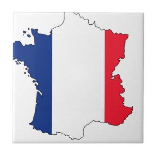 Frankreich-Flaggen-Karte #2 Kleine Quadratische Fliese